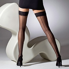 1054 cuban heel seamed thigh highs