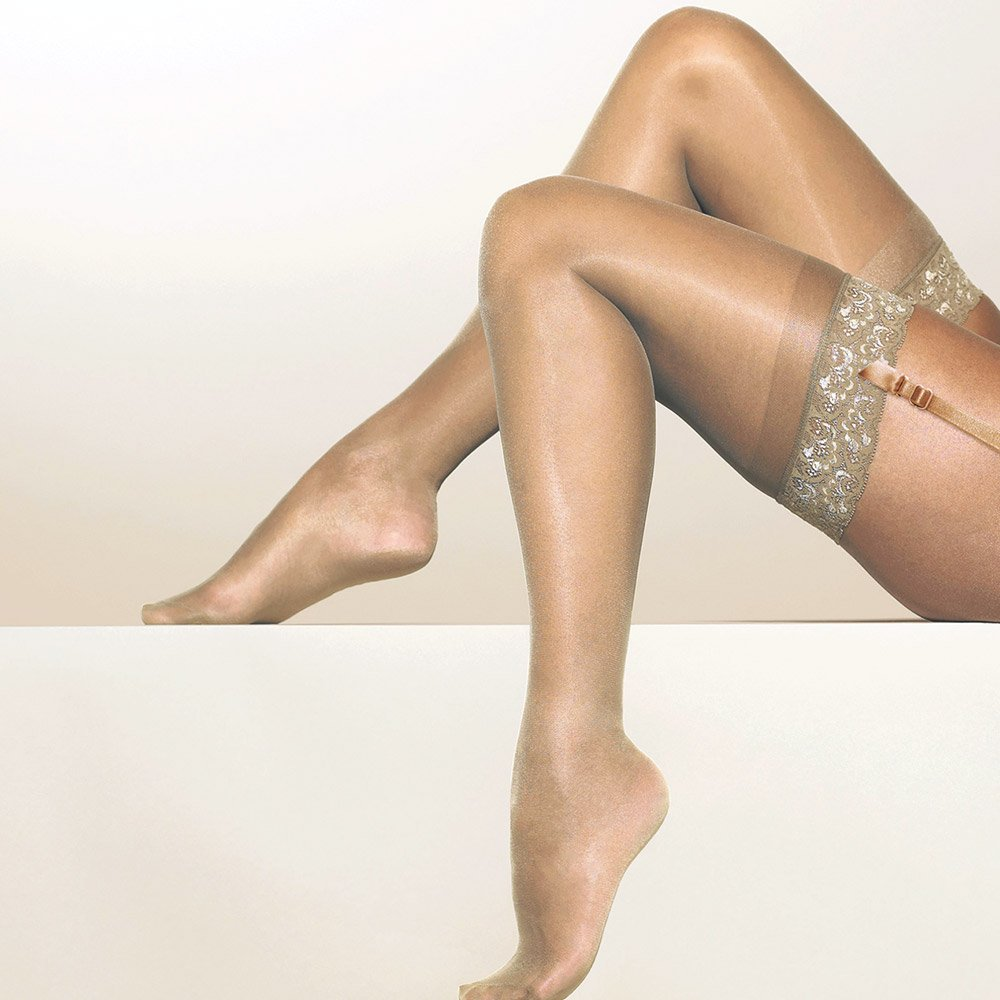 Gipsy 1280 satin sheer stockings with lace top