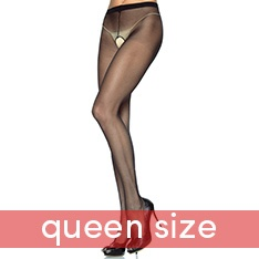 1905Q sheer nylon crotchless pantyhose - QUEEN SIZE