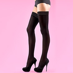 70 denier soft opaque tri-band thigh highs