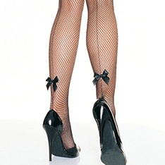 9033 backseam fishnet pantyhose with satin bow accent