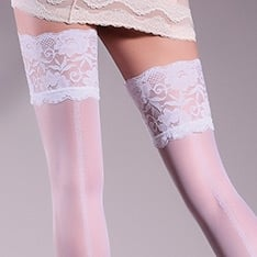 Allure 20 model 14 patterned backseam lace top thigh highs