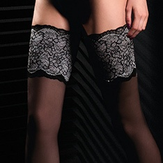 Black Edition Soiree 01 20 denier contrast lace thigh highs
