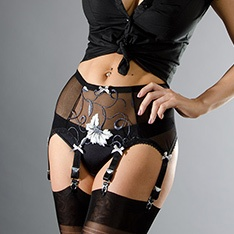 black/grey/white floral powermesh 6-strap garter belt