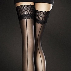 Celia seamed thigh highs with lace top