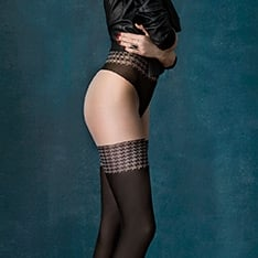 City Girl opaque faux hold-up tights