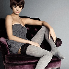 Costina II ribbed lace top thigh highs