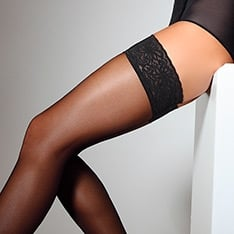 Emotion 40 semi-opaque lace top thigh highs