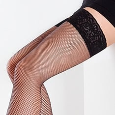 Emotion Rete lace top fishnet thigh highs
