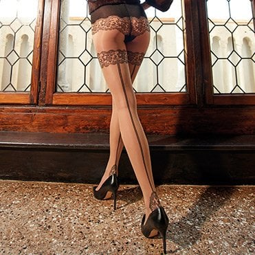Ermes seamed faux thigh high pantyhose