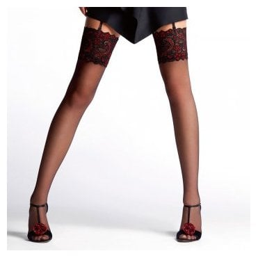 Le Bourget Essentiel stockings with two color lace top