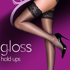 Everyday Plus 10 denier gloss lace top thigh highs