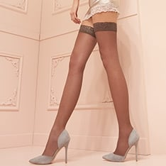 Fanny 15 denier double-covered lace top thigh highs