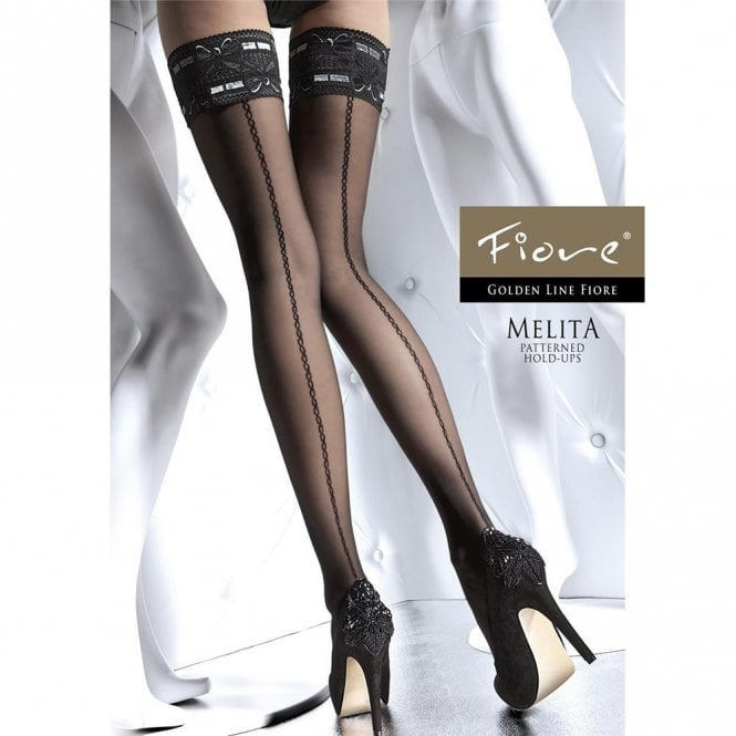 Fiore Melita seamed contrast lace thigh highs