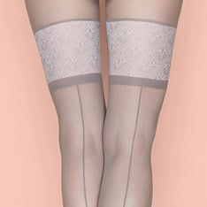First Date seamed faux thigh high pantyhose