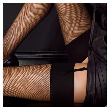 Levante fishnet stockings with plain top