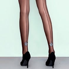Flare metallic pattern backseam pantyhose