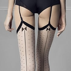 Gossip seamed spot vintage style stockings