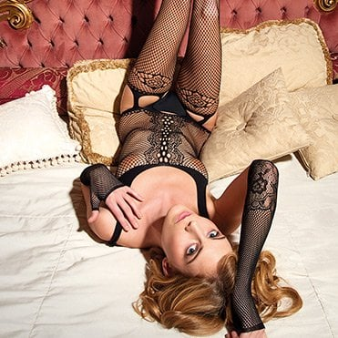 Leonida fishnet bodystocking with gloves