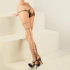 Lilly vine seam faux thigh high pantyhose