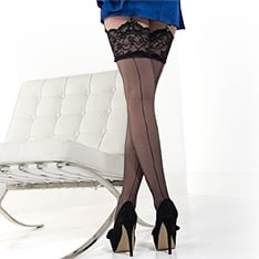 Linea Lusso Enigma Couture seamed lace top stockings