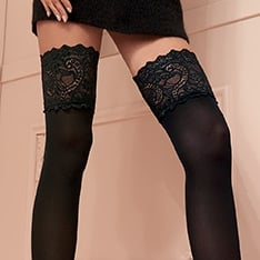 Lucrezia 70 denier opaque deep lace thigh highs