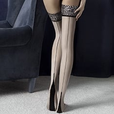 Lust seamed animal print thigh highs