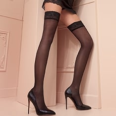 Maddalena 40 denier double-covered opaque thigh highs