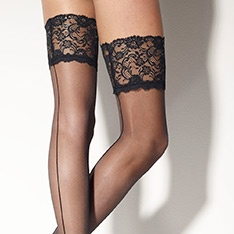 Marlene Rigo seamed lace top thigh highs
