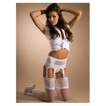 Stockings HQ mesh front 6-strap garter belt