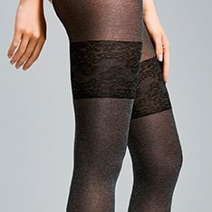 Morning opqaque marl faux hold-up pantyhose
