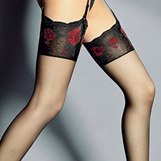 Nadia floral pattern top sheer stockings