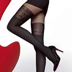 Noira 60 denier microfibre opaque faux thigh high pantyhose