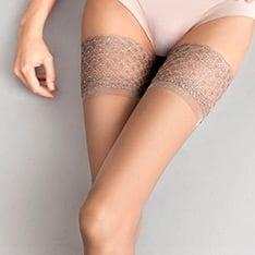 Nude lace top thigh highs