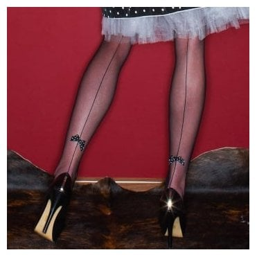 Nylonica Papillion backseam bow microtulle hold-ups - LIMITED EDITION - SPECIAL OFFER