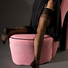 point heel CONTRAST SEAM stockings