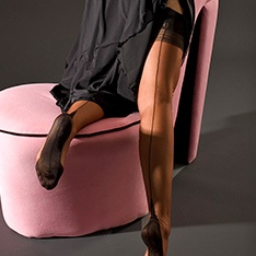 Point heel fully fashioned stockings - FULL CONTRAST - SECONDS