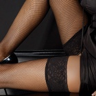 fishnet thigh highs with lace top