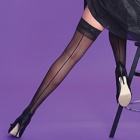 Scarlet seamed backseam lace top thigh highs