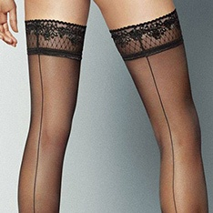 Riga Dietro seamed lace top thigh highs