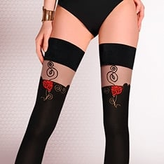 Rosa contrast rose thigh highs
