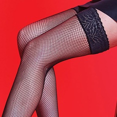 Scarlet fishnet thigh highs with a lace top