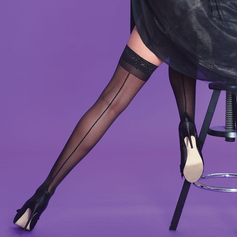 Silky Scarlet seamed backseam lace top thigh highs