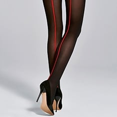Single opaque microfiber red backseam pantyhose