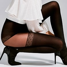 Soleil opaque microfiber faux thigh high pantyhose