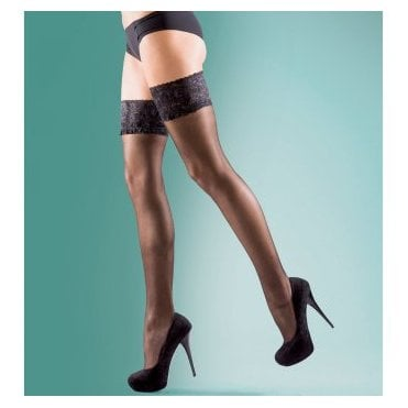 Silky Super shine lace top thigh highs