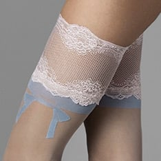 The One blue bow thigh highs