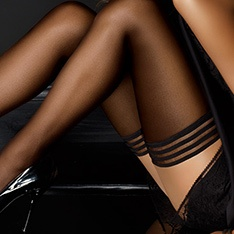 tulle micronet thigh highs with stripe top