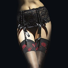 Vesuvio deep lace four strap garter belt