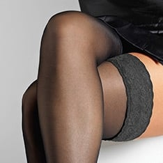 Voilance satin finish thigh highs